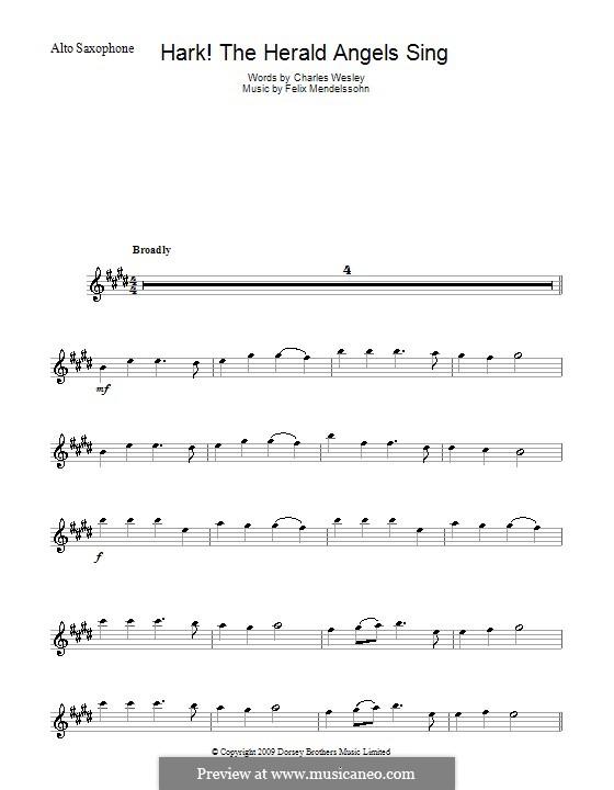 Hark! The Herald Angels Sing, for Solo Instrument: Для альтового саксофона by Феликс Мендельсон-Бартольди