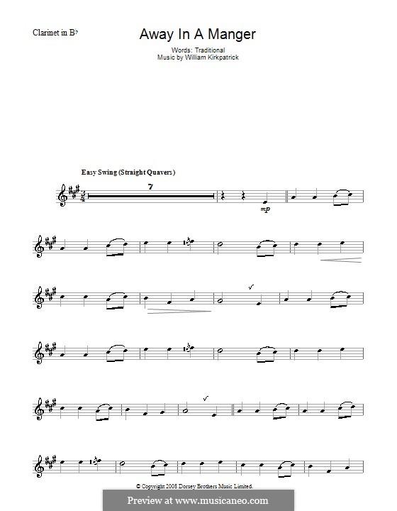 Away in a Manger: Для кларнета by Уильям (Джеймс) Киркпатрик