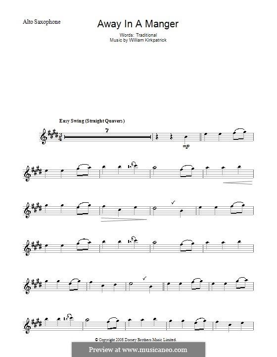 Away in a Manger: Для альтового саксофона by Уильям (Джеймс) Киркпатрик