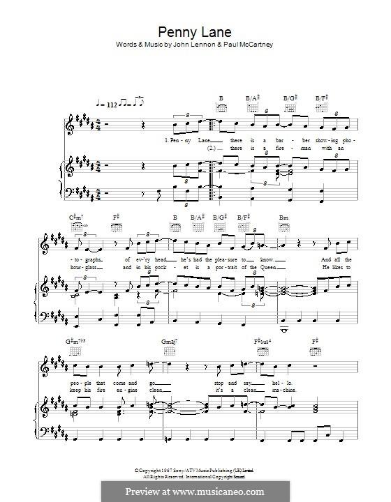 Penny Lane (The Beatles): Для голоса и фортепиано или гитары (B Major) by John Lennon, Paul McCartney