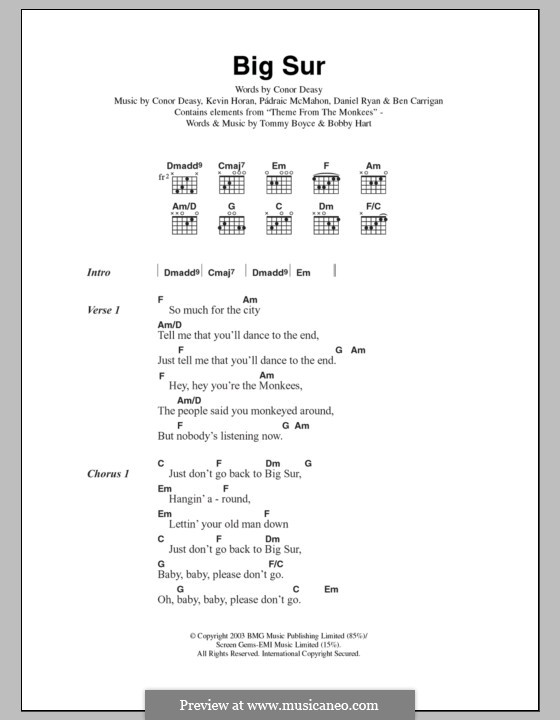 Big Sur (The Thrills): Текст, аккорды by Ben Carrigan, Conor Deasy, Daniel Ryan, Kevin Horan, Pádraic McMahon