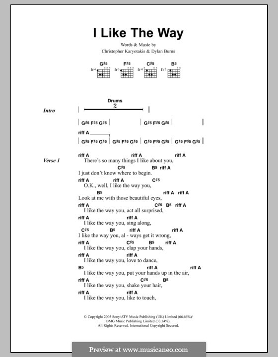I Like the Way (The Bodyrockers): Текст, аккорды by Christopher Karyotakis, Dylan Burns