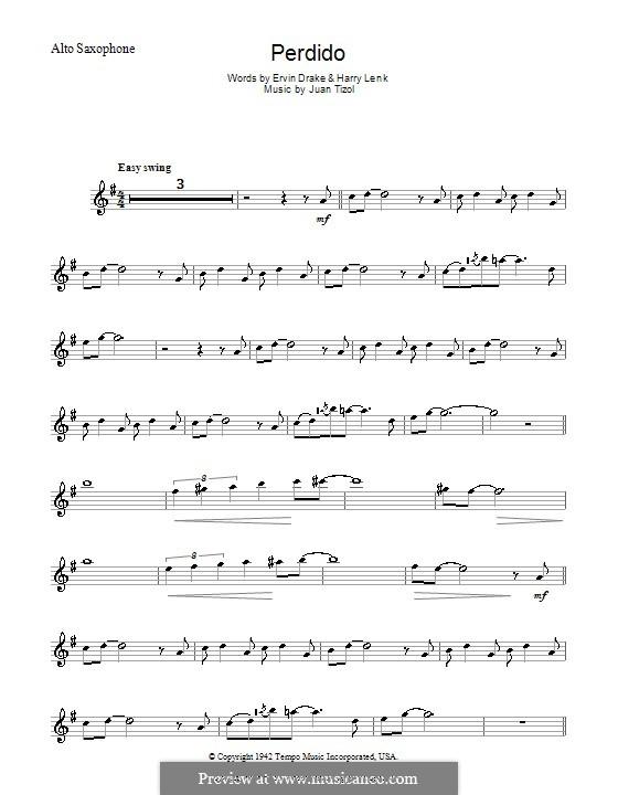 Perdido (Duke Ellington): Для альтового саксофона by Juan Tizol