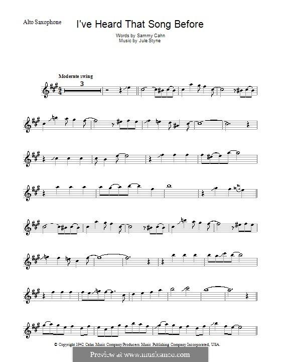 I've Heard That Song Before (Harry James): Для альтового саксофона by Jule Styne