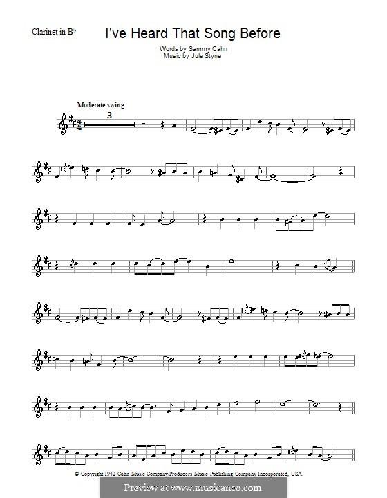 I've Heard That Song Before (Harry James): Для кларнета by Jule Styne