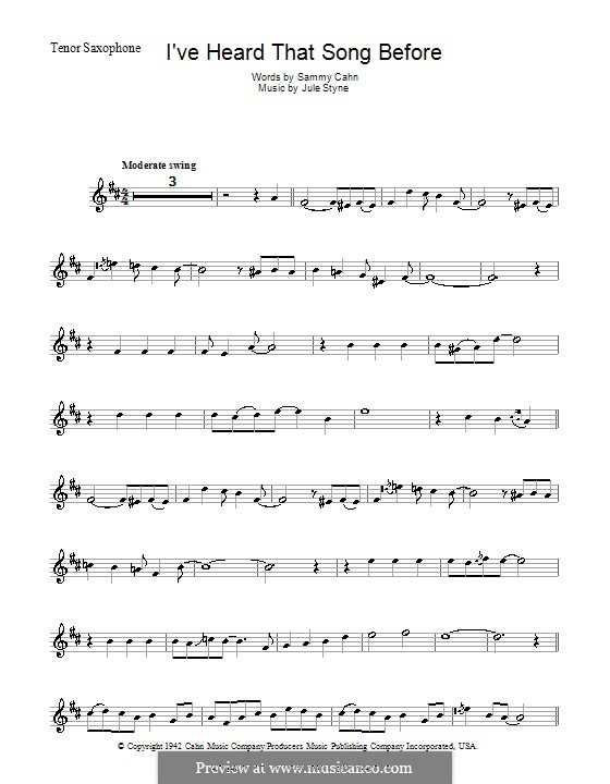 I've Heard That Song Before (Harry James): Для тенорового саксофона (Harry James) by Jule Styne