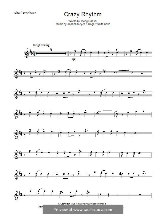 Crazy Rhythm (Chet Baker): Для альтового саксофона by Joseph Meyer, Roger Wolfe Kahn