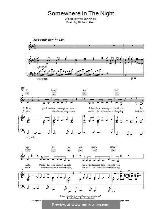Somewhere in the Night: Для голоса и фортепиано (или гитары) by Richard Kerr