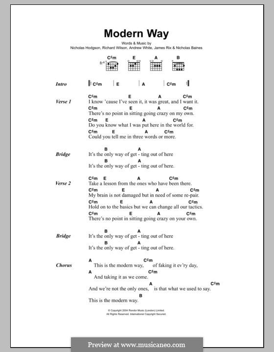 Modern Way (Kaiser Chiefs): Текст и аккорды by Andrew White, James Rix, Nicholas Baines, Nicholas Hodgson, Charles Wilson