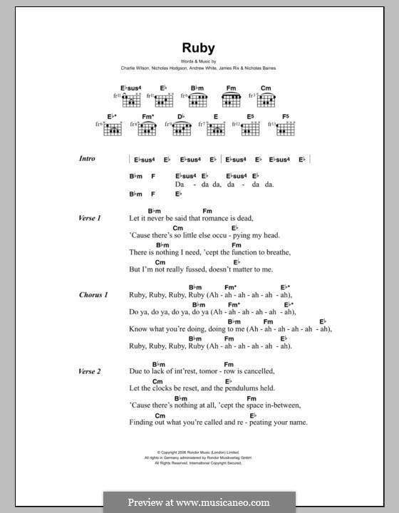 Ruby (Kaiser Chiefs): Текст и аккорды by Andrew White, James Rix, Nicholas Baines, Nicholas Hodgson, Charles Wilson