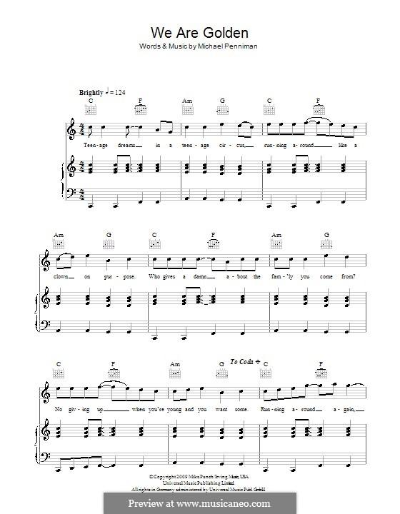 We Are Golden: Для голоса и фортепиано (или гитары) by Mika