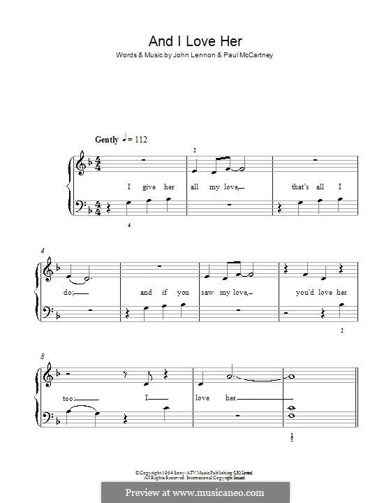 And I Love Her (The Beatles): Для фортепиано (легкий уровень) by John Lennon, Paul McCartney