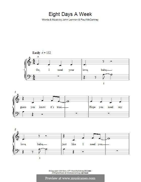 Eight Days a Week (The Beatles): Для фортепиано (легкий уровень) by John Lennon, Paul McCartney
