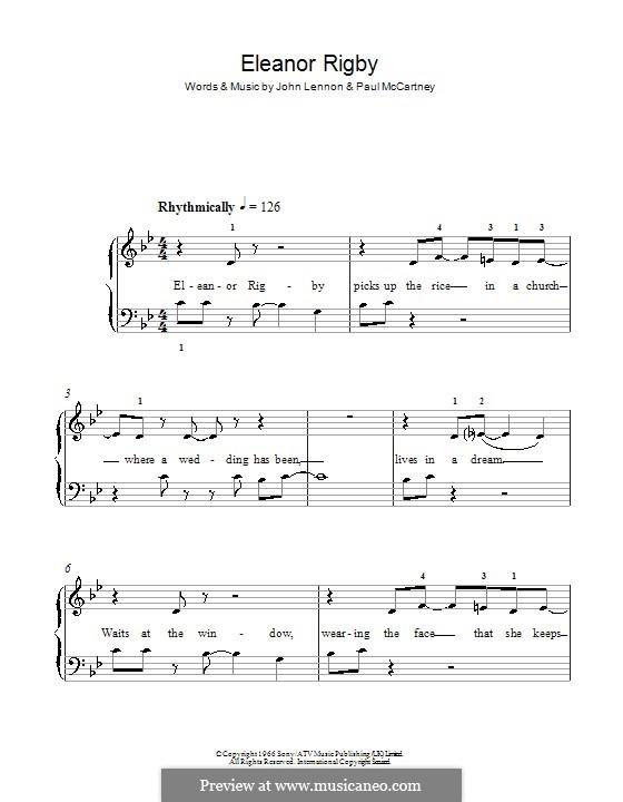 Eleanor Rigby (The Beatles): Для фортепиано (легкий уровень) by John Lennon, Paul McCartney