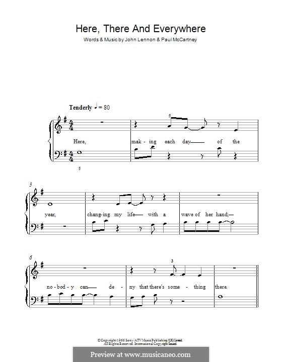 Here, There and Everywhere (The Beatles): Для фортепиано (легкий уровень, соль мажор) by John Lennon, Paul McCartney