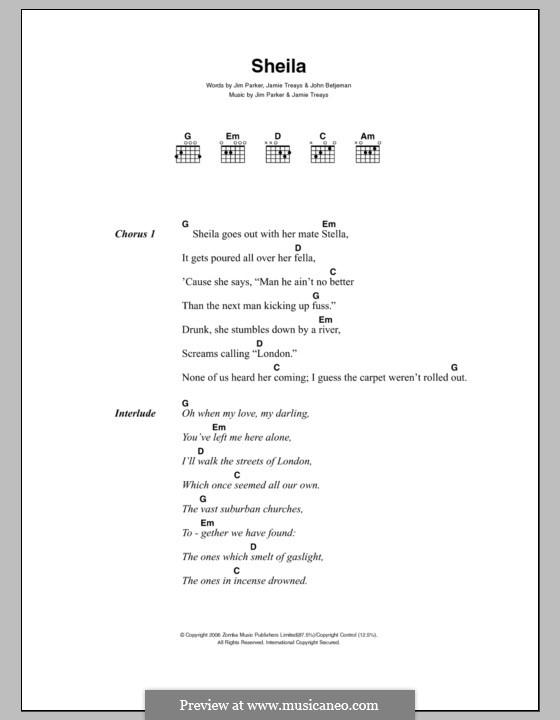 Sheila (Jamie T): Текст и аккорды by Jamie Treays, Jim Parker