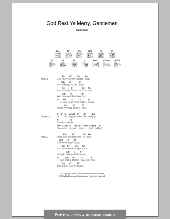 God Rest You Merry, Gentlemen (Printable Scores): Текст, аккорды by folklore