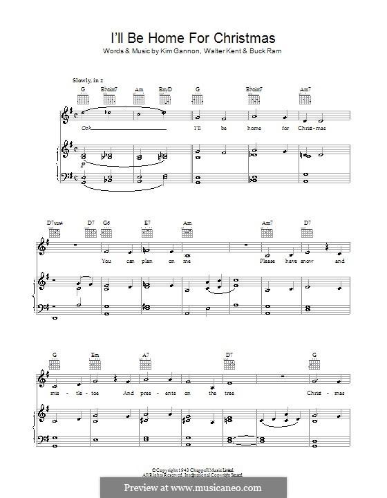 I'll Be Home for Christmas: Для голоса и фортепиано или гитары (Bob Dylan) by Kim Gannon, Walter Kent