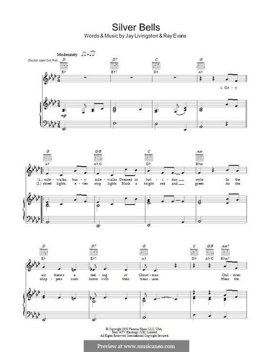 Silver Bells: Для голоса и фортепиано или гитары (Ля-бемоль мажор) by Jay Livingston, Raymond Evans
