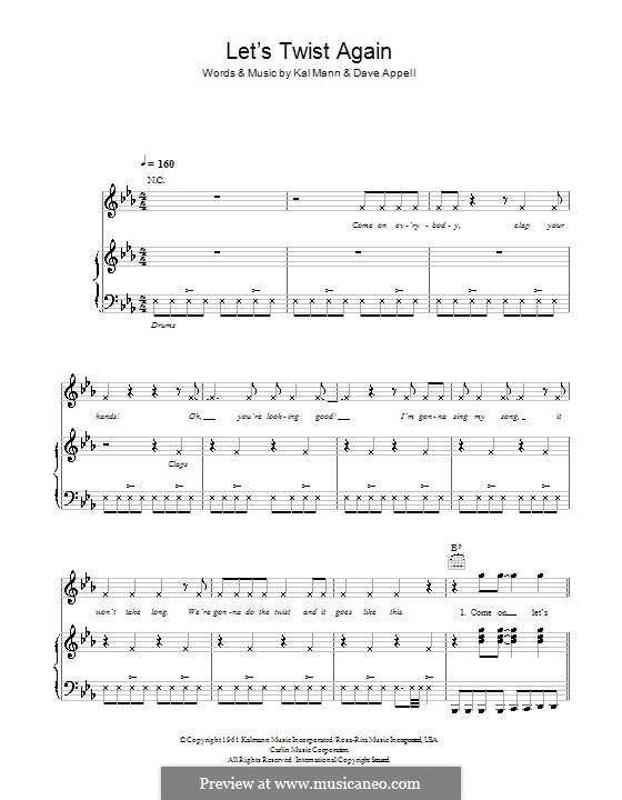 Let's Twist Again (Chubby Checker): Для голоса и фортепиано (или гитары) by Dave Appell, Kal Mann