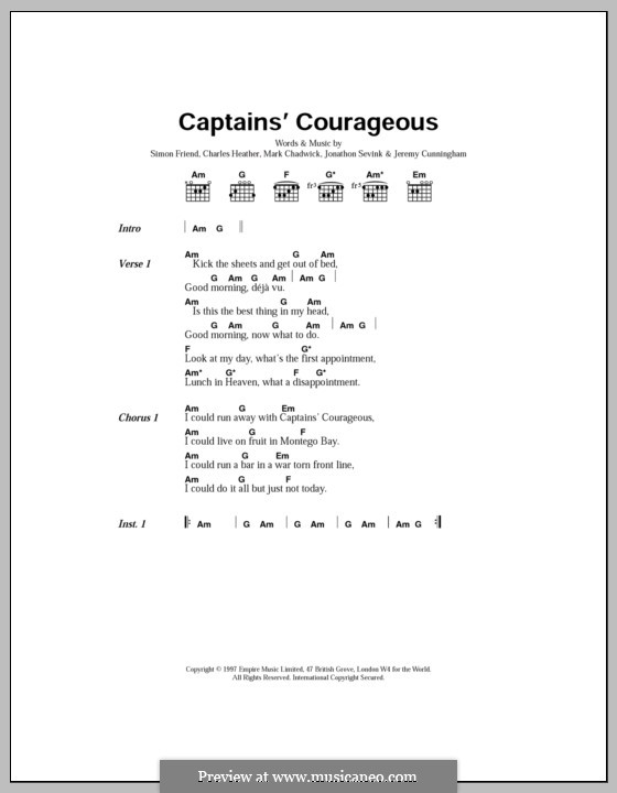 Captain's Courageous (The Levellers): Текст, аккорды by Charles Heather, Jeremy Cunningham, Jonathan Sevink, Mark Chadwick, Simon Friend