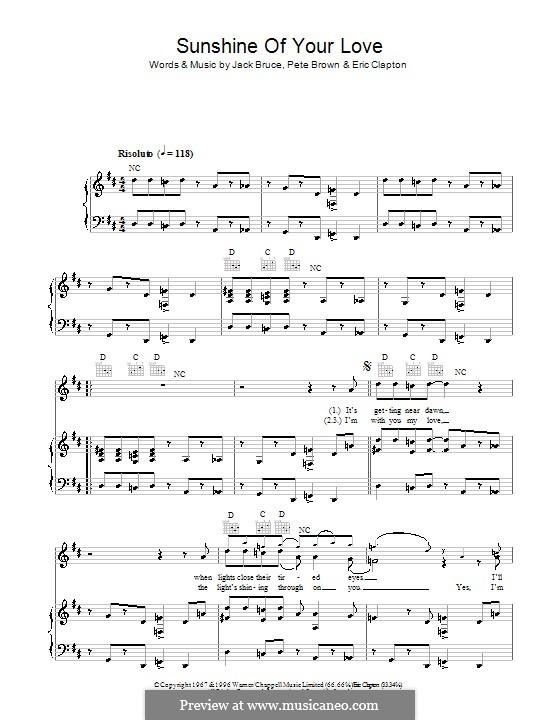Sunshine of Your Love (Cream): Для голоса и фортепиано (или гитары) by Eric Clapton, Jack Bruce, Pete Brown