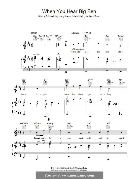 When You Hear Big Ben (You're Home Again): Для голоса и фортепиано (или гитары) by Harry Leon, Jack Scott, Mark Malloy
