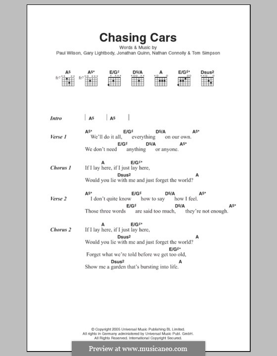 Chasing Cars (Snow Patrol): Текст, аккорды by Gary Lightbody, Jonathan Quinn, Nathan Connolly, Paul Wilson, Tom Simpson