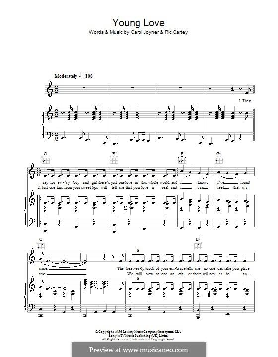 Young Love (Sonny James): Для голоса и фортепиано (или гитары) by Carole Joyner, Ric Cartey