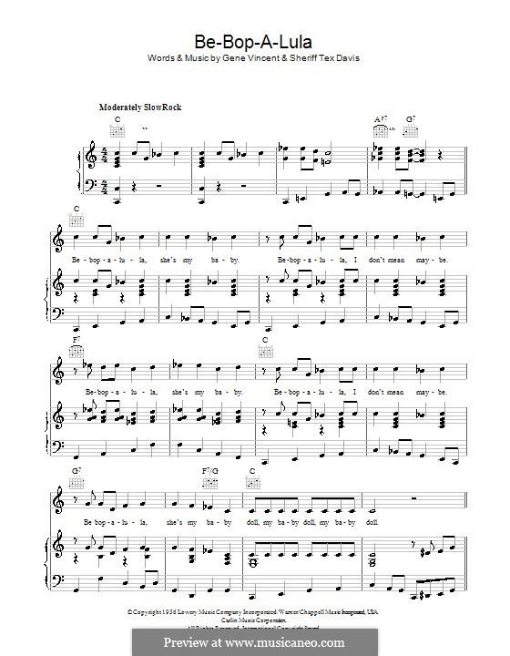 Be-Bop-A-Lula: Для голоса и фортепиано (или гитары) by Gene Vincent, Sheriff Tex Davis