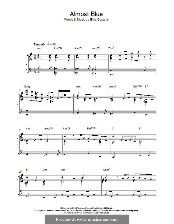 Almost Blue (Diana Krall): Для фортепиано by Elvis Costello