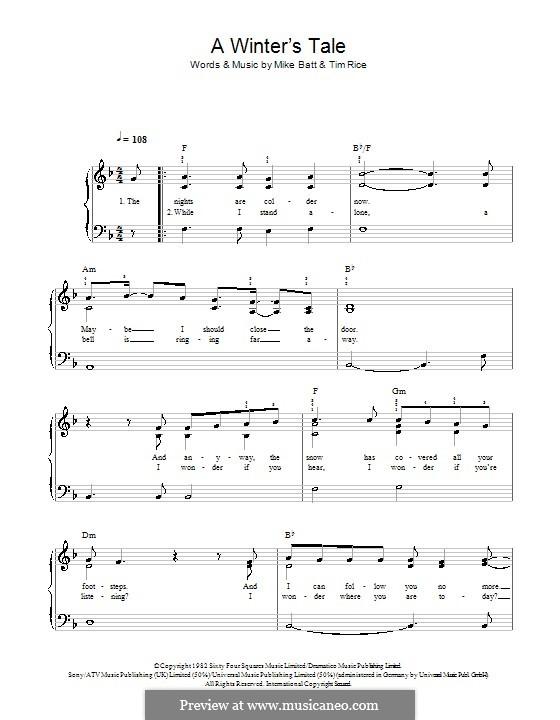 A Winter's Tale (David Essex): Для фортепиано (легкий уровень) by Mike Batt