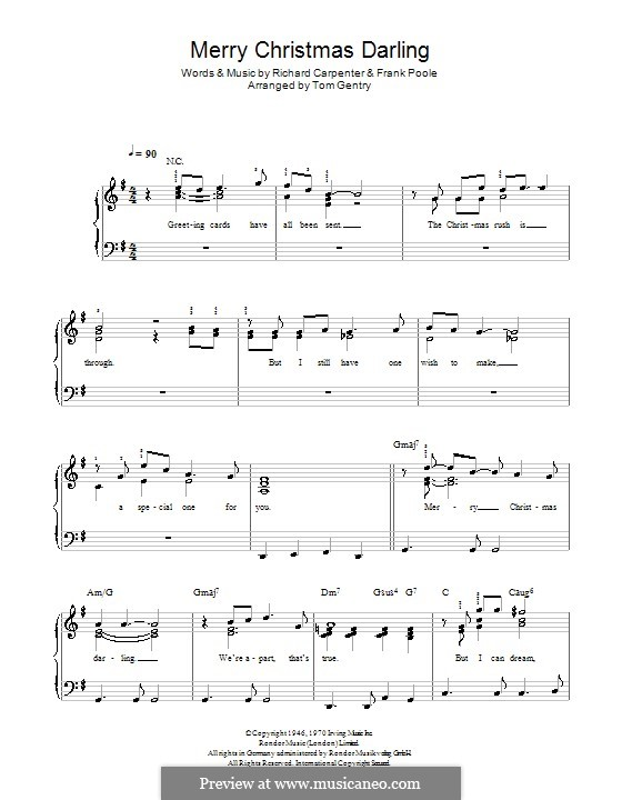 Merry Christmas, Darling (Carpenters): Для фортепиано (легкий уровень) by Frank Pooler, Richard Carpenter