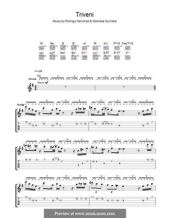 Triveni: Для гитары с табулатурой by Gabriela Quintero, Rodrigo Sánchez