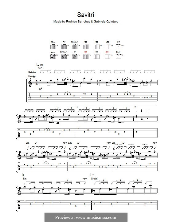 Savitri: Для гитары с табулатурой by Gabriela Quintero, Rodrigo Sánchez
