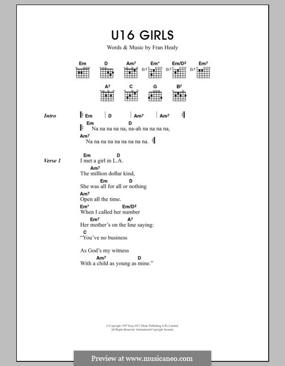 U16 Girls (Travis): Текст, аккорды by Fran Healy