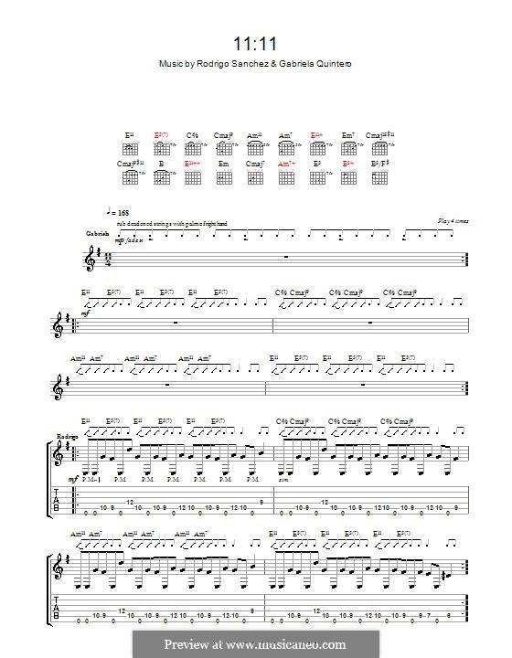 11:11: Для гитары с табулатурой by Gabriela Quintero, Rodrigo Sánchez