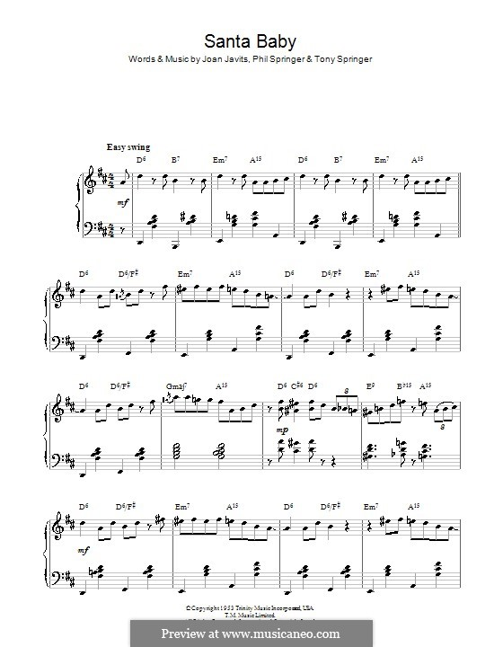 Santa Baby (Eartha Kitt): Для фортепиано (D Major) by Joan Javits, Philip Springer, Tony Springer
