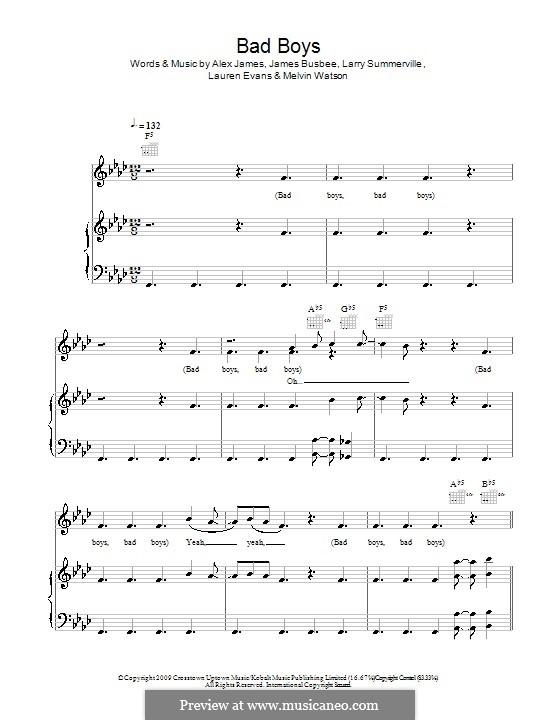 Bad Boys (Alexandra Burke): Для голоса и фортепиано (или гитары) by Busbee, Larry Summerville, Lauren Evans, Melvin Watson, Alexander James