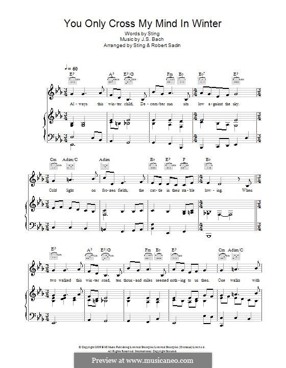 You Only Cross My Mind in Winter: Для голоса и фортепиано (или гитары) by Иоганн Себастьян Бах