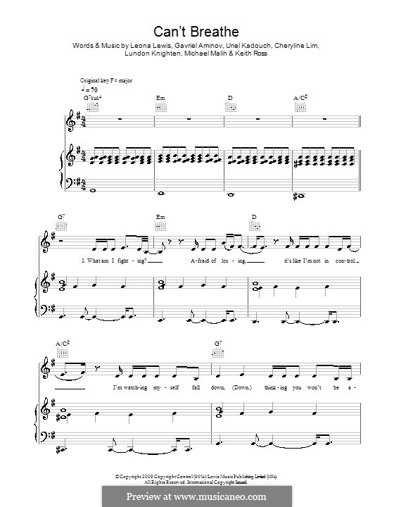 Can't Breathe: Для голоса и фортепиано (или гитары) by Cheryline Lim, Gavriel Aminov, Keith Ross, Leona Lewis, Lundon Knighten, Michael Malih, Uriel Kadouch