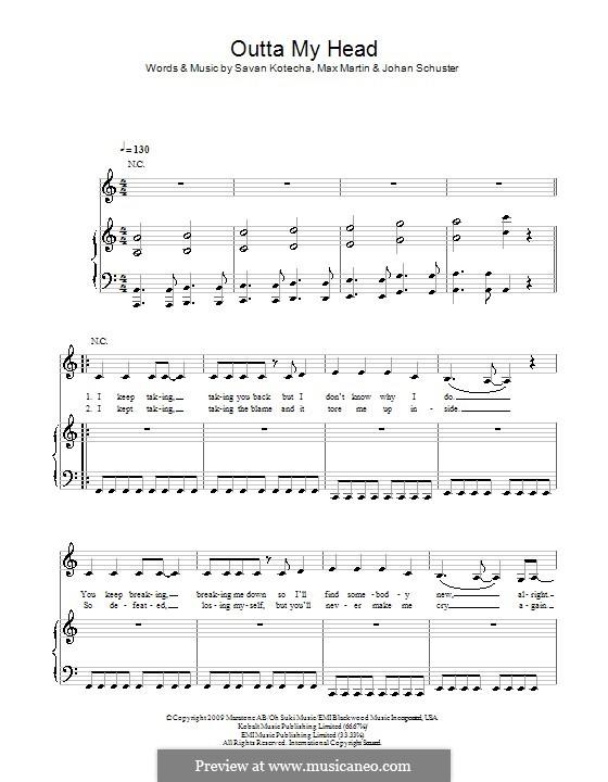 Outta My Head (Leona Lewis): Для голоса и фортепиано (или гитары) by Shellback, Max Martin, Savan Kotecha