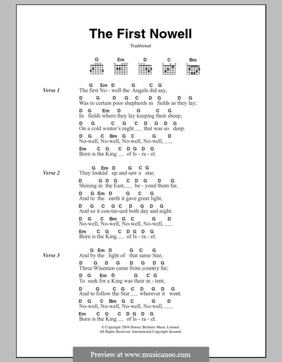 The First Nowell (The First Noël), Printable scores: Текст, аккорды by folklore