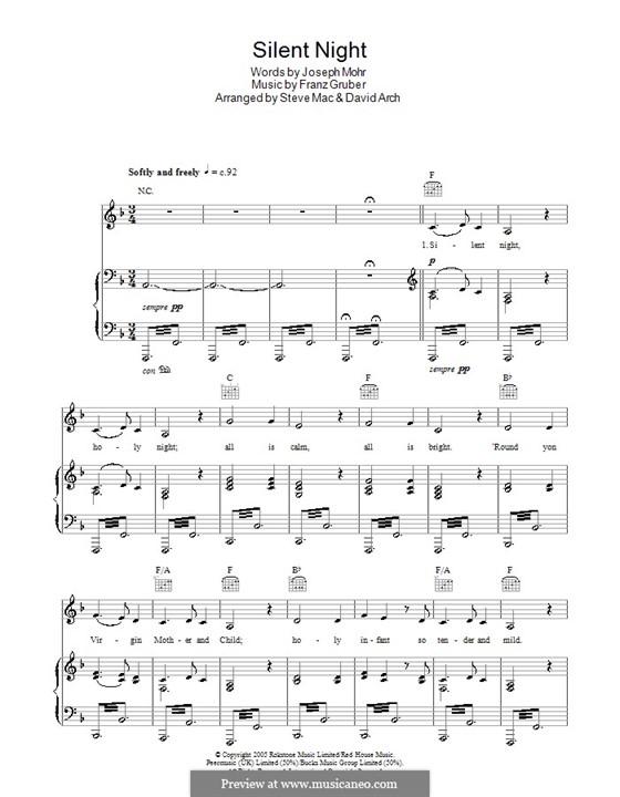 Тихая ночь (ноты для печати): Для голоса и фортепиано или гитары (фа мажор) by Франц Ксавьер Грубер
