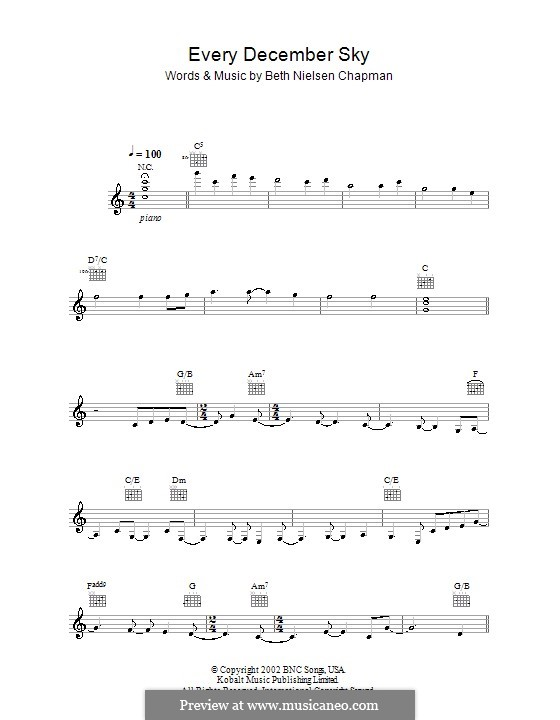 Every December Sky: Мелодия, текст и аккорды by Beth Nielsen Chapman