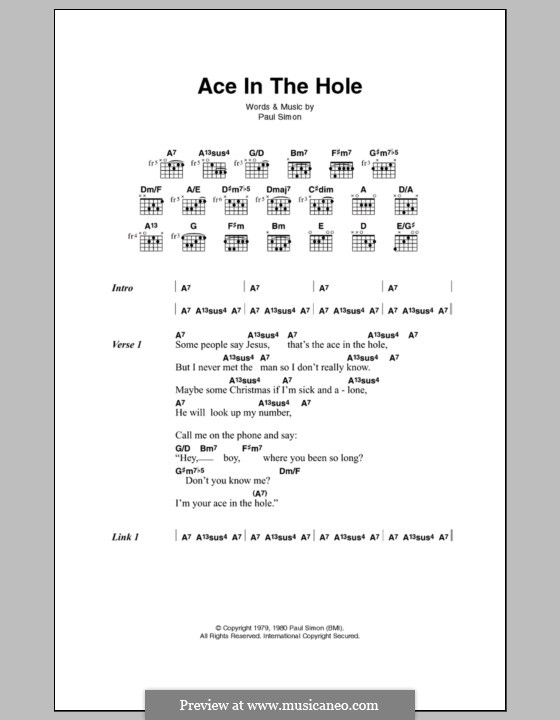 Ace in the Hole: Текст, аккорды by Paul Simon