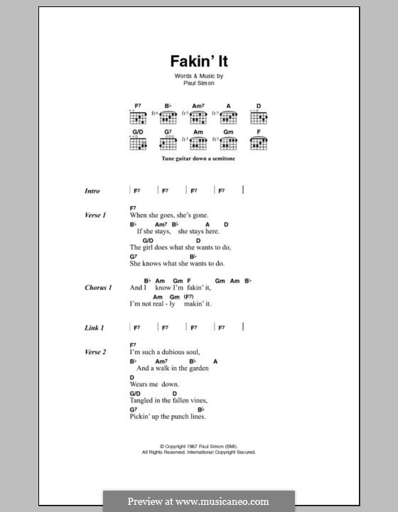 Fakin' It (Simon & Garfunkel): Текст, аккорды by Paul Simon