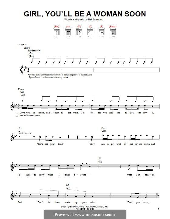 Girl, You'll Be a Woman Soon: Для гитары (с вариантом боя) by Neil Diamond