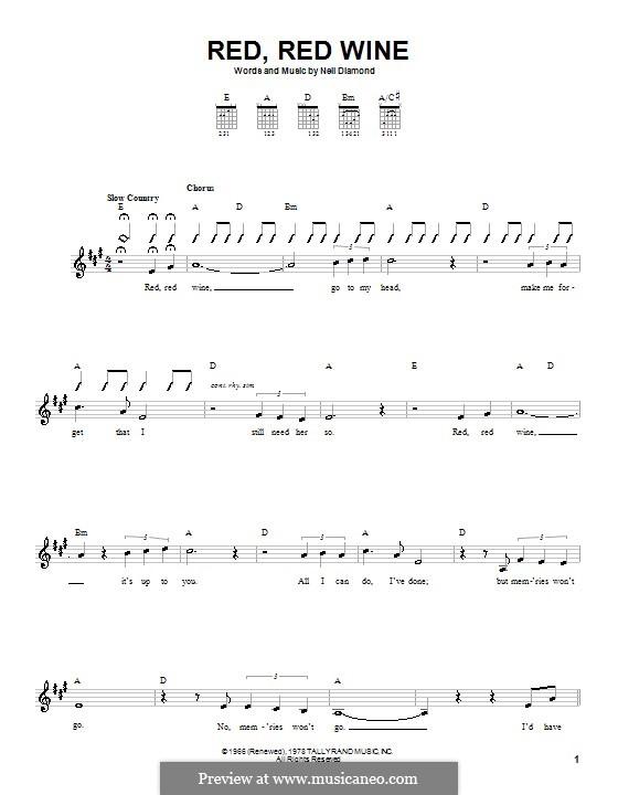 Red, Red Wine (UB40): Для гитары (с вариантом боя) by Neil Diamond