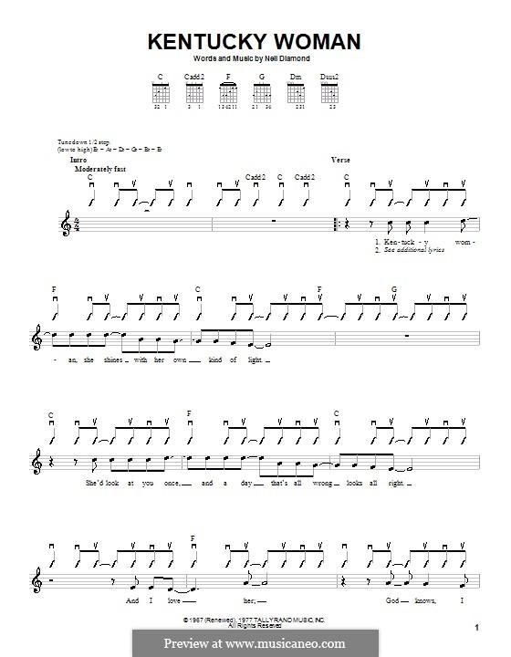 Kentucky Woman: Для гитары (с вариантом боя) by Neil Diamond